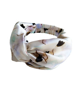 Marloekaki  Silk twisted Headband White Brown