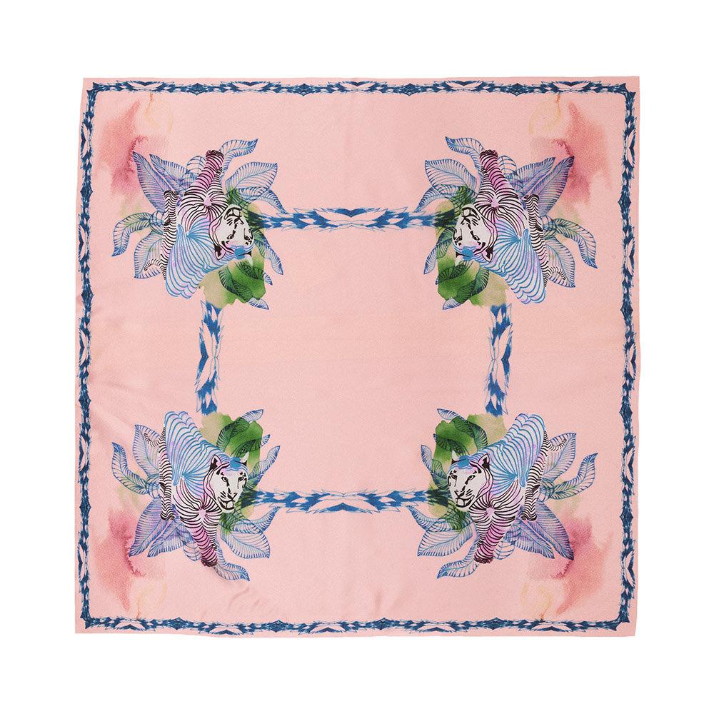 Silk scarf Tigers Square Apricot