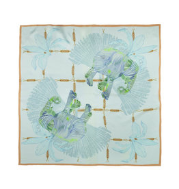 Marloekaki  Silk scarf Green Elephants