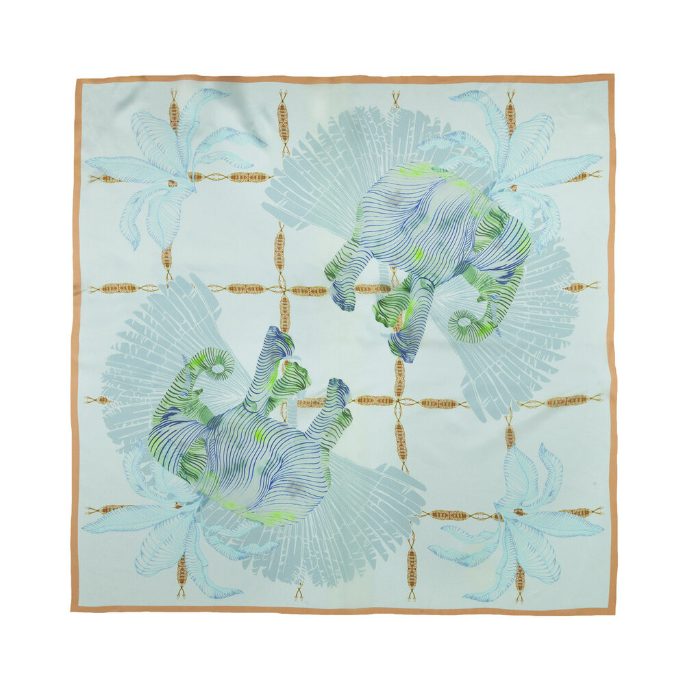 Silk scarf Green Elephants
