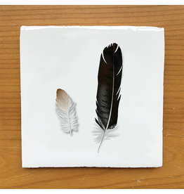 Myrte Vintage Tile With Feathers
