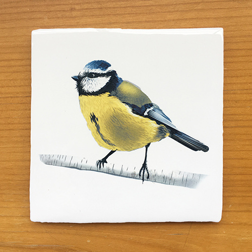 Vintage Tile with the illustration of the Blue Tit