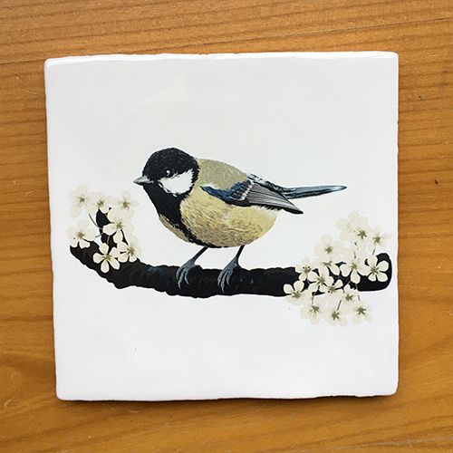 Vintage tile with an illustration of a Great Tit