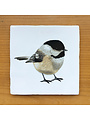 Vintage tile with the Chickadee illustration
