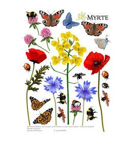 Myrte Insekten und Blumen Wandaufkleber