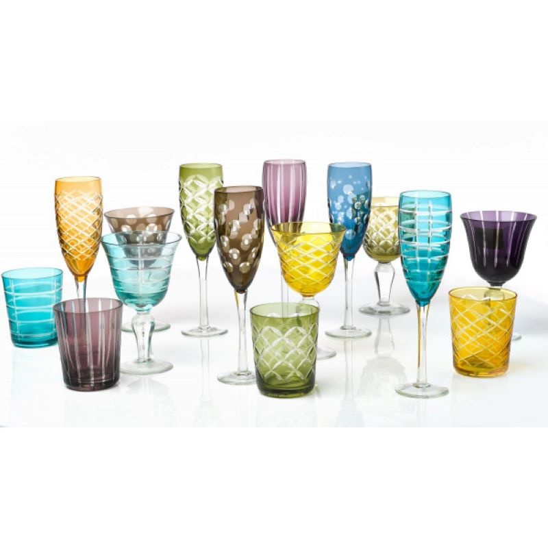 Champagne glass Multicolour set of 6