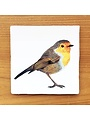 Vintage tile with an illustration of a Robin in flight