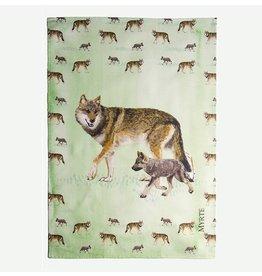 Myrte Geschirrtuch Wolf Mutter mit Welpen