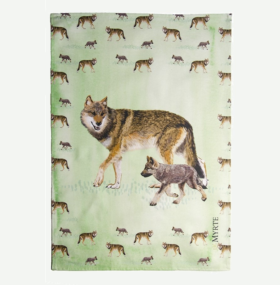 Tea towel Wolf Mother with Puppy