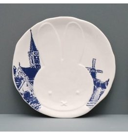 Hollandsche Waaren Plate Miffy, Delft Blue windmill