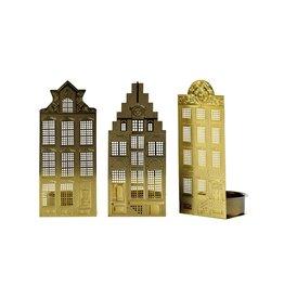 Pols Potten Waxinelight Canal houses gold Light, Set 3