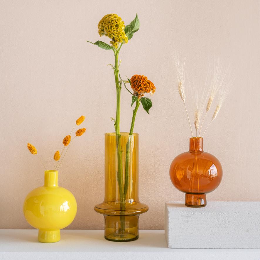 Vase Recycled Glass Egg Yolk Yellow