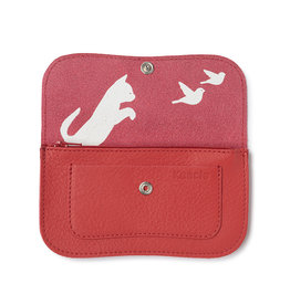 Keecie Wallet Cat Chase Coral