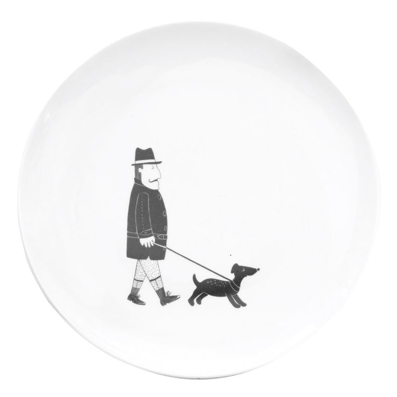 Frühstücksteller Mann mit Hund, Gustav