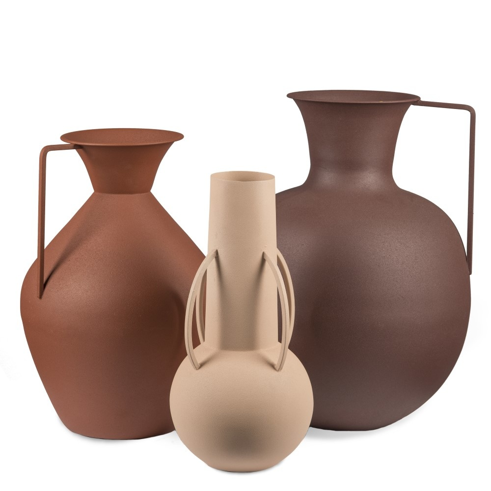 Vazen Roman bruin set 3