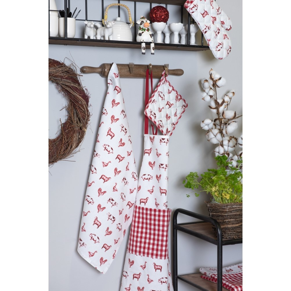 Tea towel Country Life Animals, Red