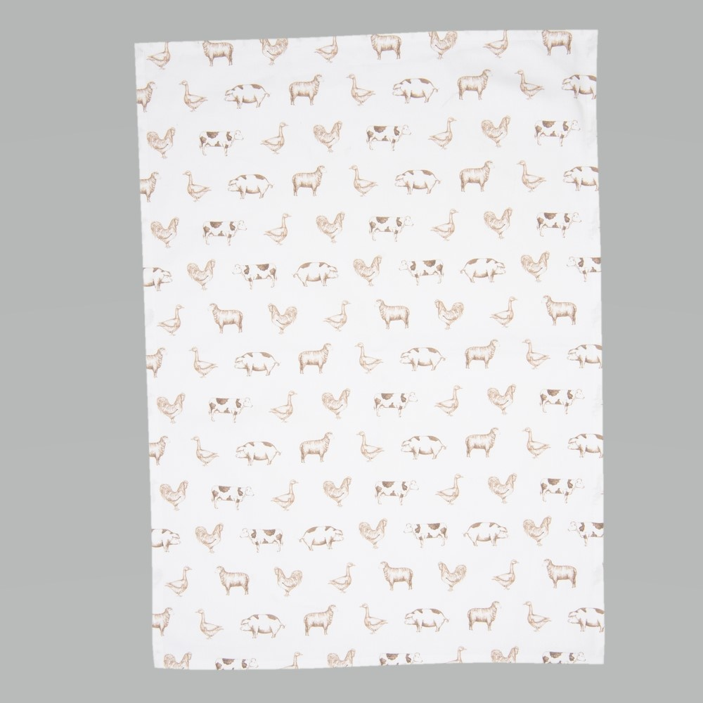 Tea towel Country Life Animals, Natural
