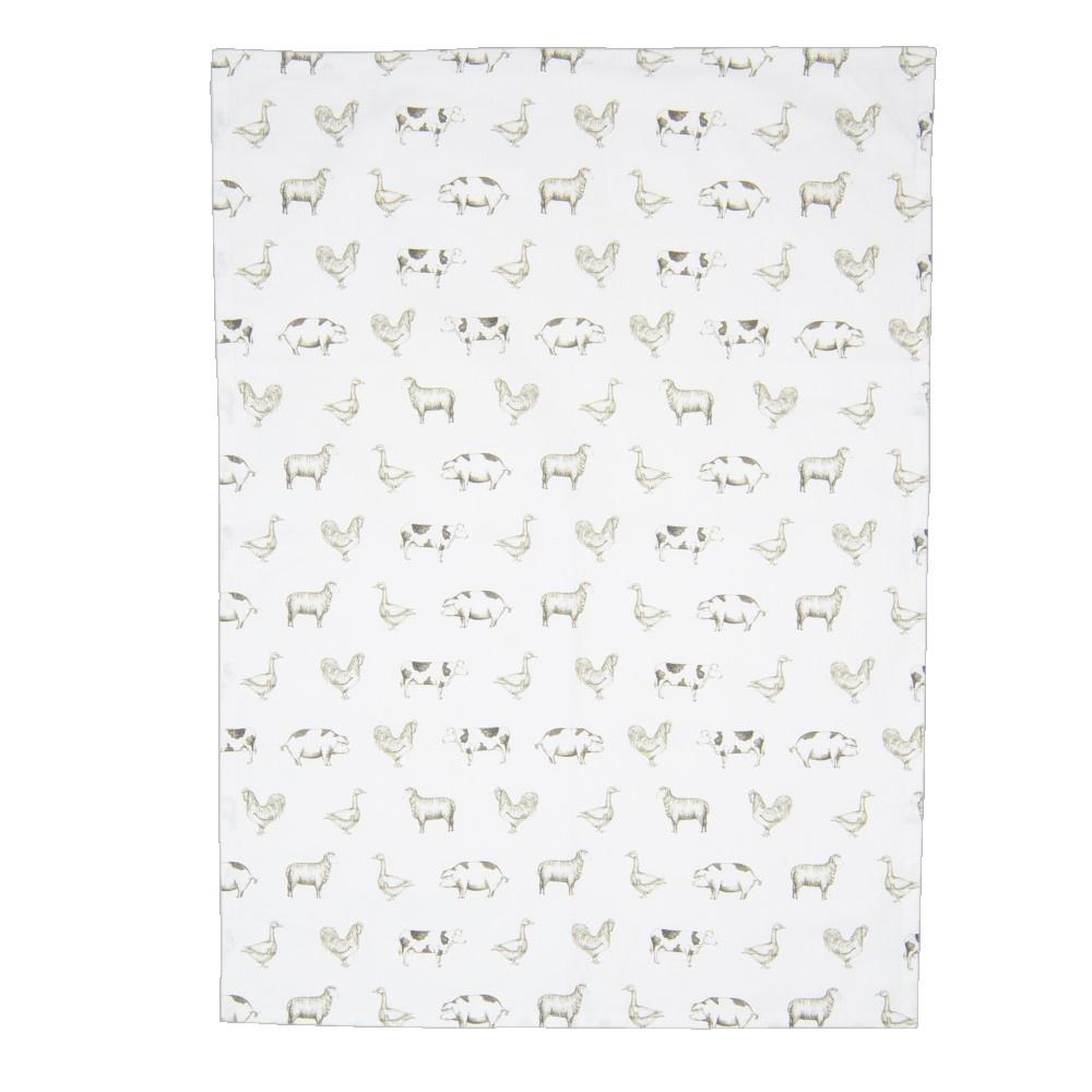 Tea towel Country Life Animals, Green