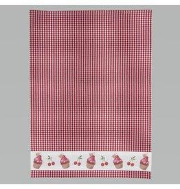 Clayre & Eef Tea towel Cherry Cupcakes/Checkered