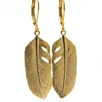 LILLY LILLY Oorbellen - Big Feather Gold | 14 Karaats