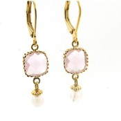 LILLY LILLY Oorbellen - Square Crystal Gold | Pink | G55