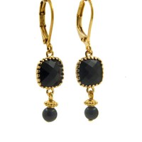 LILLY LILLY Oorbellen - Square Crystal Gold | Black | 14 Karaats
