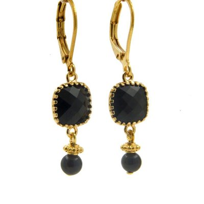 LILLY LILLY Oorbellen - Square Crystal Gold | Black | G15