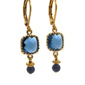 LILLY LILLY Oorbellen - Square Crystal Gold | Blue | G35