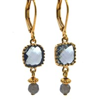 LILLY LILLY Oorbellen - Square Crystal Gold | Grey | 14 Karaats