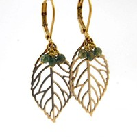 LILLY LILLY Oorbellen - Leaf Bunch Gold | Jaspis | 14 Karaats