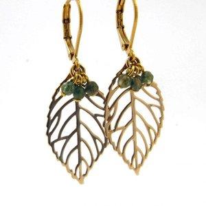 LILLY LILLY Oorbellen - Leaf Bunch Gold   Jaspis   14 Karaats