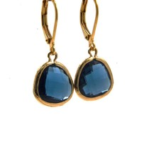 LILLY LILLY Oorbellen - Drop Crystal Gold | Blue | 14 Karaats