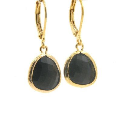 LILLY LILLY Oorbellen - Drop Crystal Gold | Black | G12