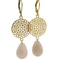 LILLY LILLY Oorbellen - Filli Large Gold | Rose Quartz | 14 Karaats