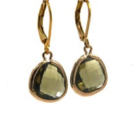 LILLY LILLY Oorbellen - Drop Crystal Gold | Army Green| 14 Karaats