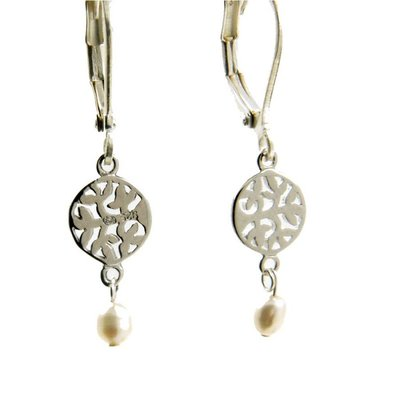 LILLY LILLY Oorbellen - Tree of Life Silver| Pearl | Z3
