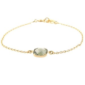 LILLY LILLY Armband | Square Crystal Gold | 14 Karaats | Green