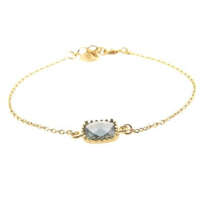 LILLY LILLY Armband | Square Crystal Gold | Grey | A2