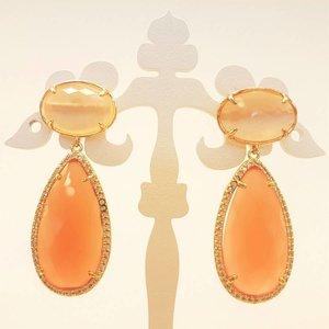 MARTHJE Oorbellen van MARTHJE | Kristal | Goud | Oranje