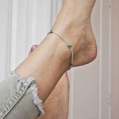 MIAB Jewels MIAB Enkelbandje   Sterling Zilver   Mix   Turquoise
