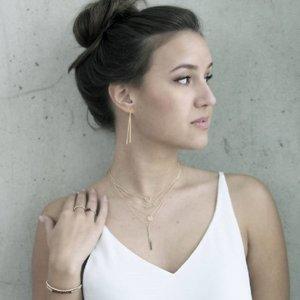 MIAB Jewels MIAB Ketting | Rosé Goud | Skinny Vertical Bar