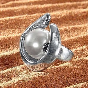 UNOde50 UNOde50 Ring | HALF MOON | Zilver | Parel | SS18