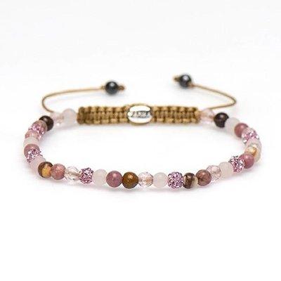 KARMA Jewelry KARMA Armband   Spiral Pink Rose XXS   Roze Crystal   84247