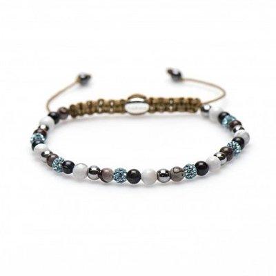 KARMA Jewelry KARMA Armband | Spiral Blue Lotus XXS | Light Blue Crystal | 84175
