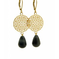 LILLY LILLY Oorbellen | Filli Large Gold | Black Onyx | 14 Karaats