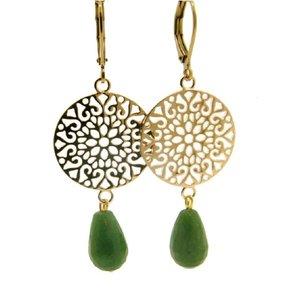 LILLY LILLY Oorbellen | Filli Large Gold | Green Jaspis | 14 Karaats