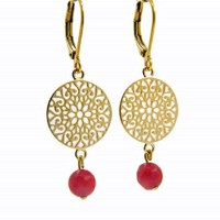 LILLY LILLY Oorbellen | Filli Medium Gold | Red | 14 Karaats