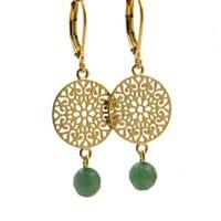 LILLY LILLY Oorbellen | Filli Medium Gold | Green Jade | 14 Karaats