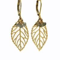 LILLY LILLY Oorbellen | Leaf Bunch Gold | Labradoriet | 14 Karaats