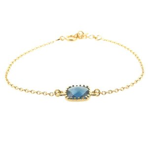 LILLY LILLY Armband | Square Crystal Gold | 14 Karaats | Blue